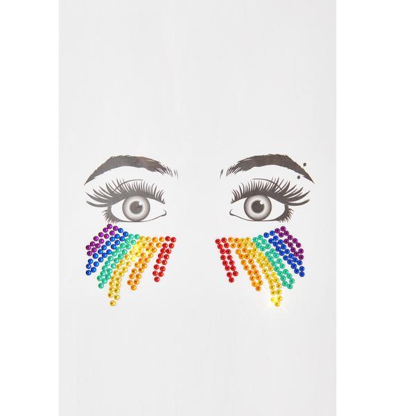 Neva Nude Rainbow Rhinestone Face Gems