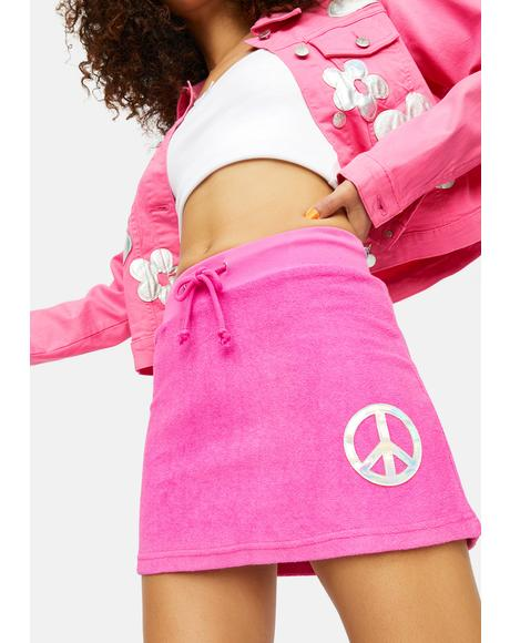 Catch My Vibe Peace Sign Terry Skirt