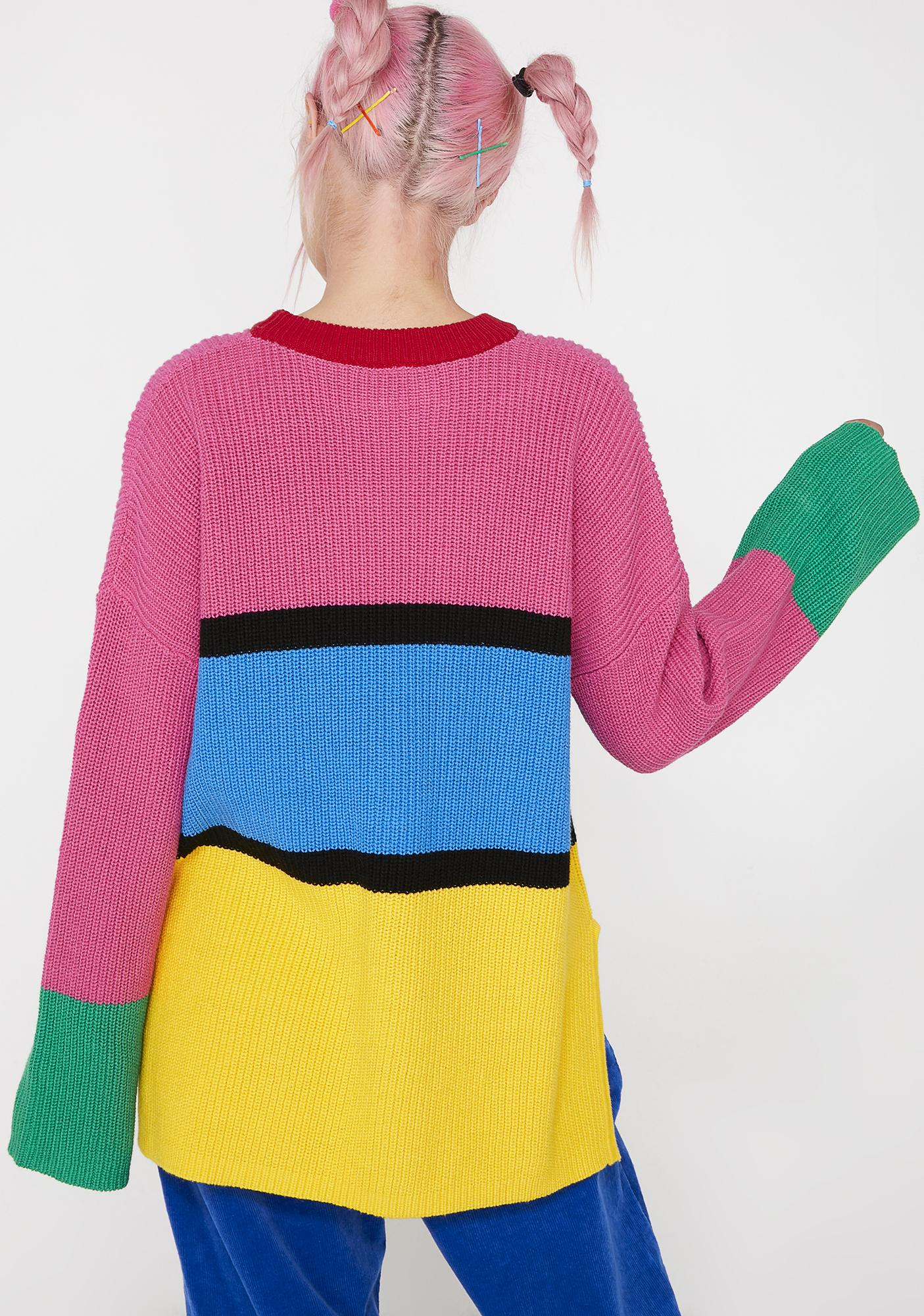 Lazy Oaf Colour Block Knitted Jumper