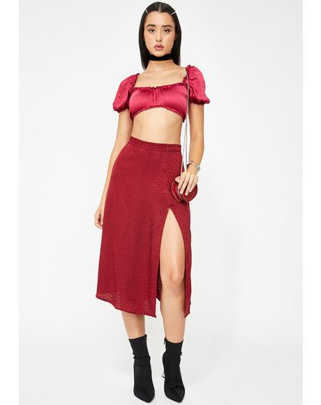 Raspberry Cheetah Saika Skirt