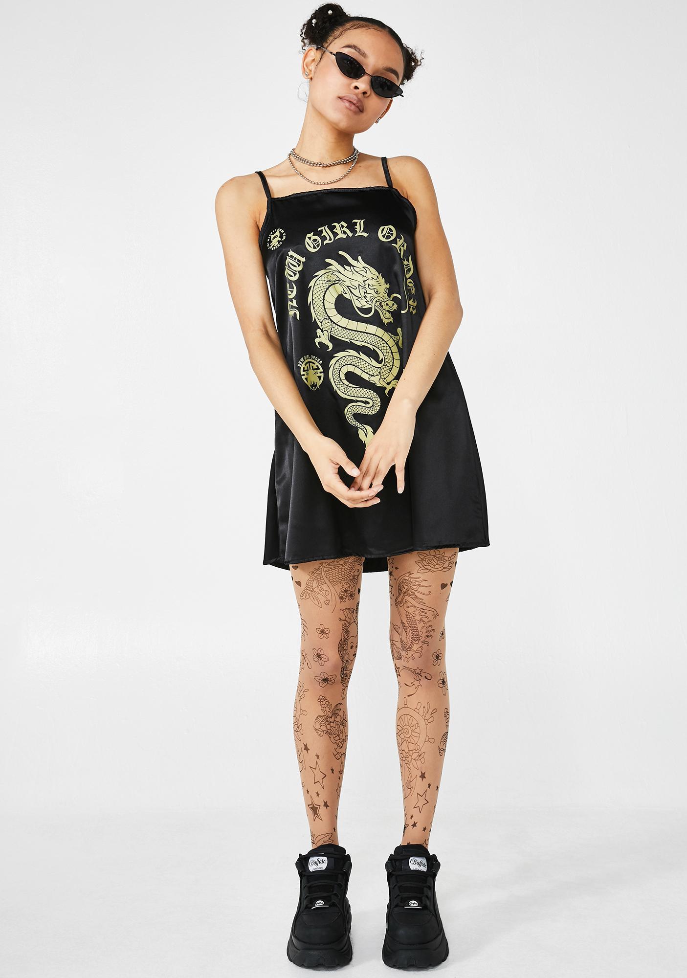 NEW GIRL ORDER Midnight Dragon Print Satin Dress