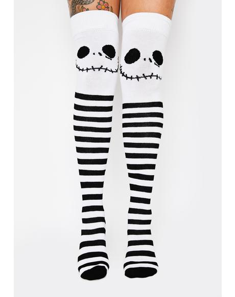 Jack's Nightmare Thigh High Socks