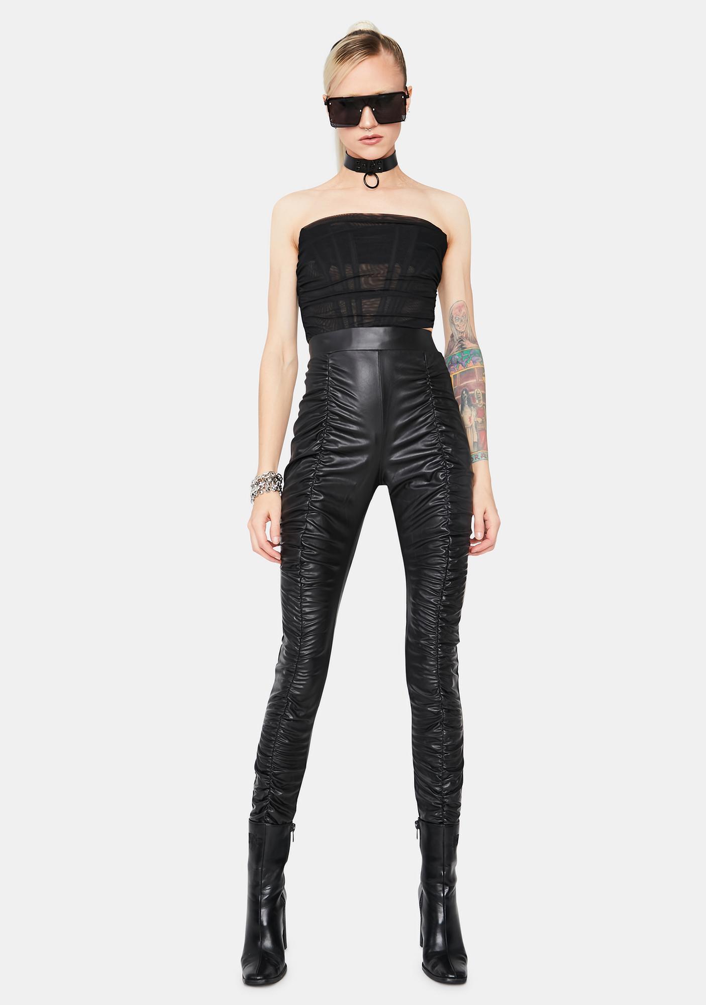 Rockstar Secret Faux Leather Ruched Pants