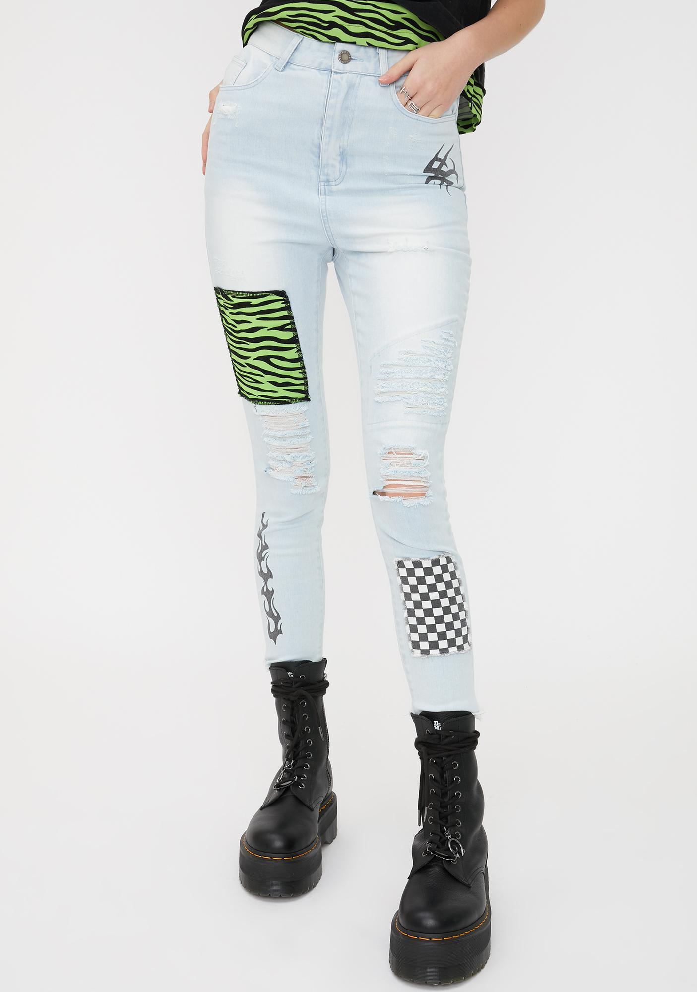 Disturbia Scrawl Patchwork Jeans