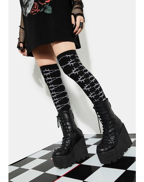 Dare To Trespass Thigh High Socks
