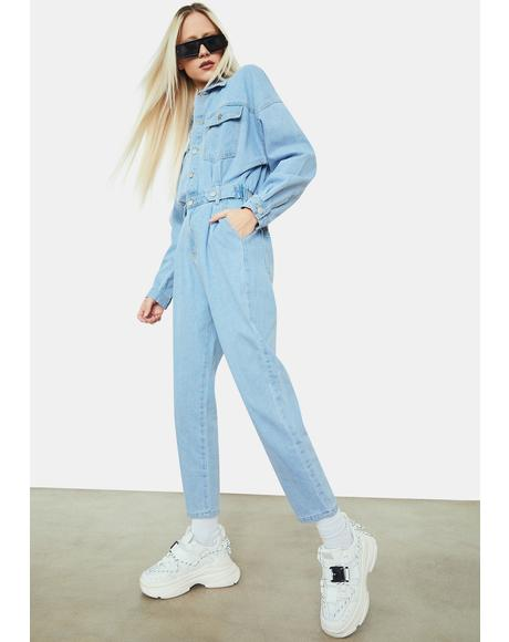 Chic Encounters Denim Long Sleeve Jumpsuit