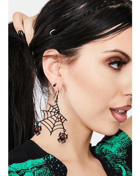 Dark Web Spider Earrings