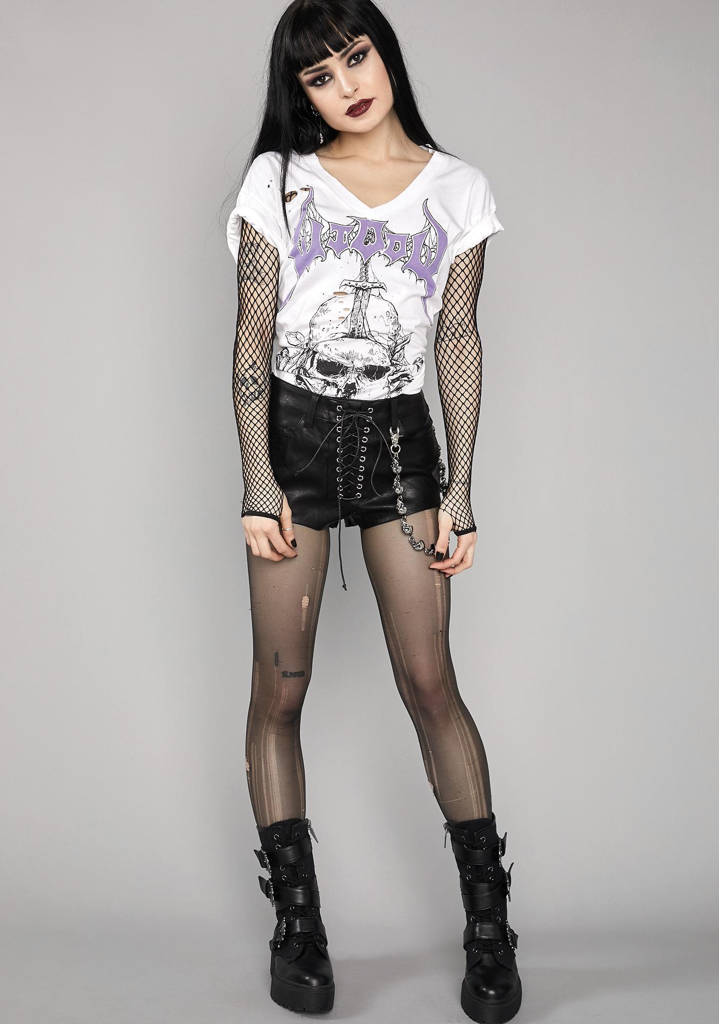 Widow Morbid Mortality Lace-Up Shorts