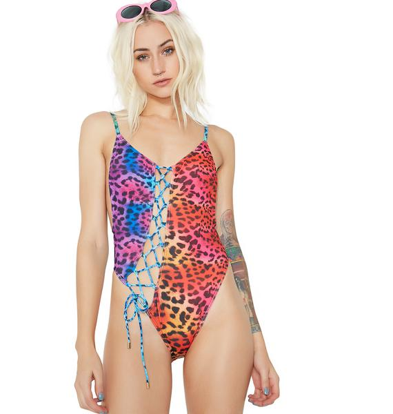 Jaded London Lace-Up Cami Leg Swimsuit