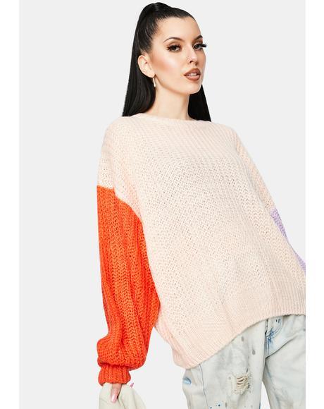 Peach Coral Colorblock Sweater