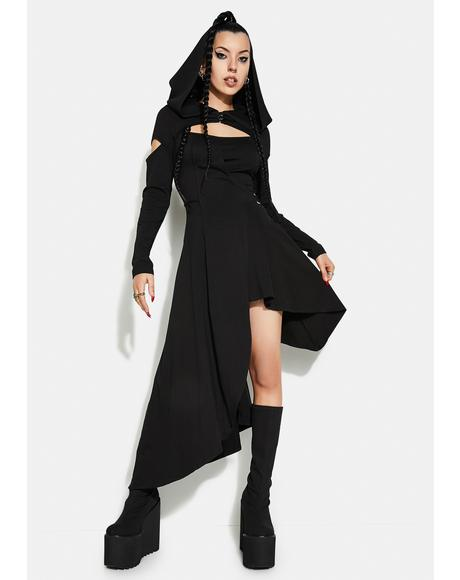 Punk Knitted Asymmetrical Dress