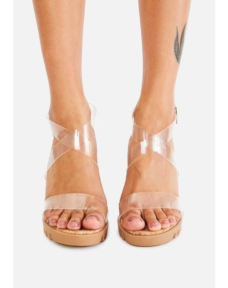Clear Atomic Alert Cork Heels