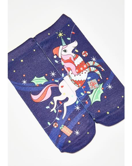 Christmas Unicorn Ankle Socks