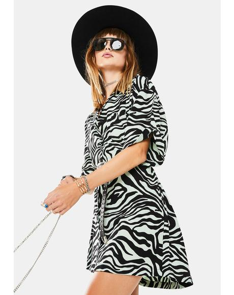 Wavy Zebra Fresia Shirt Dress