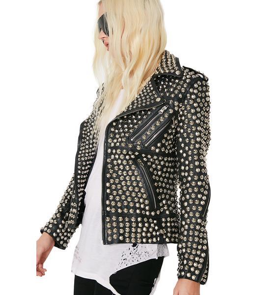 Hazmat Design Queen Of Metal Leather Jacket