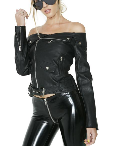 Bad Sandy Off-Shoulder Moto Jacket