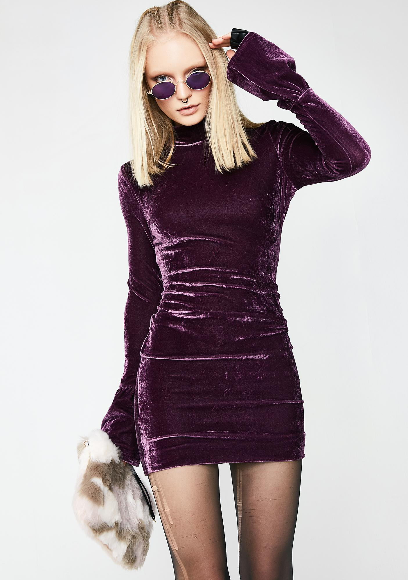 2649647c1adf Velvet Bell Sleeve Bodycon Plum Dress