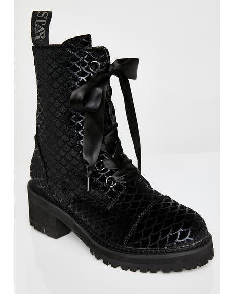 Atlantis Velvet Combat Boots