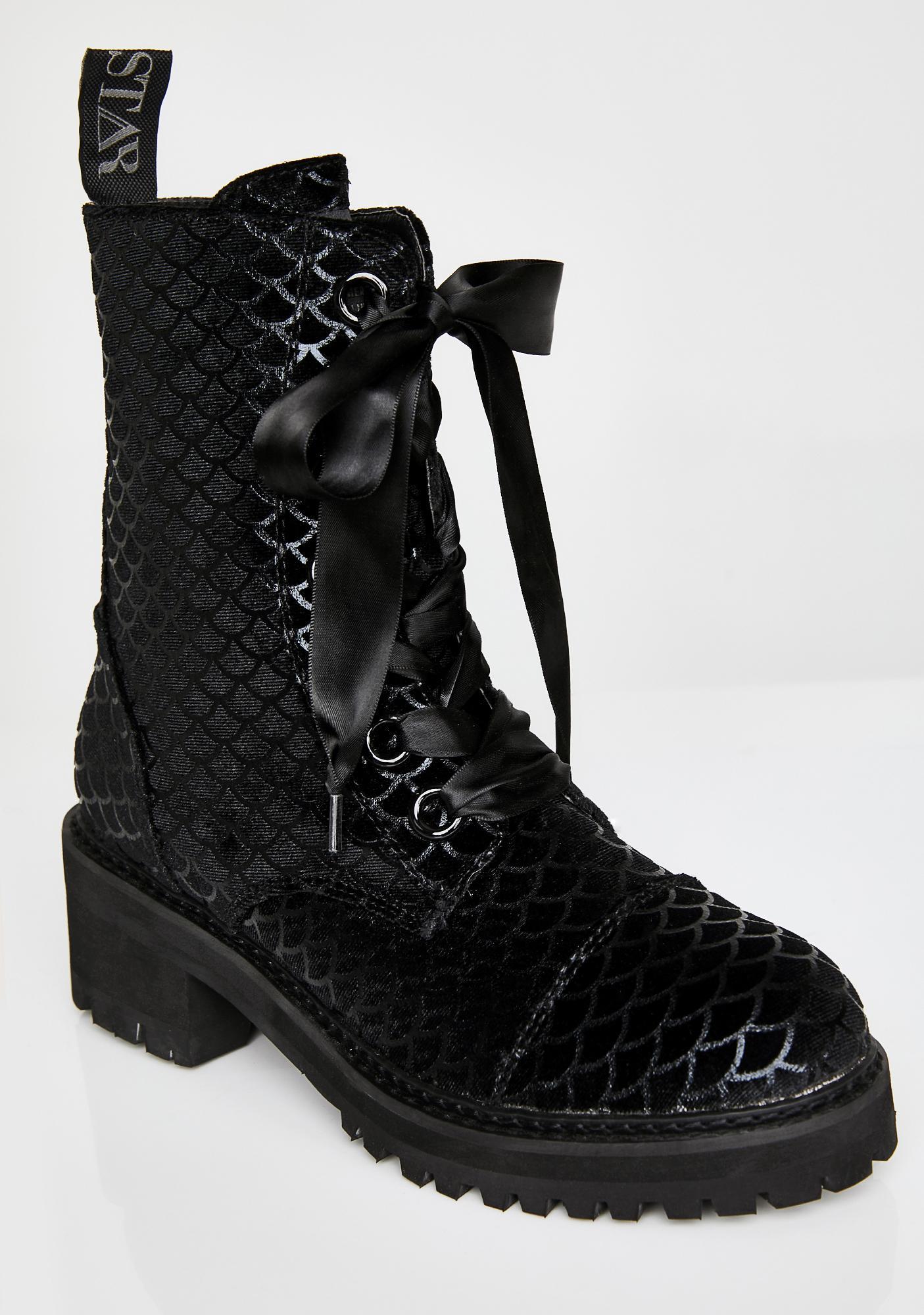 Killstar Atlantis Velvet Combat Boots