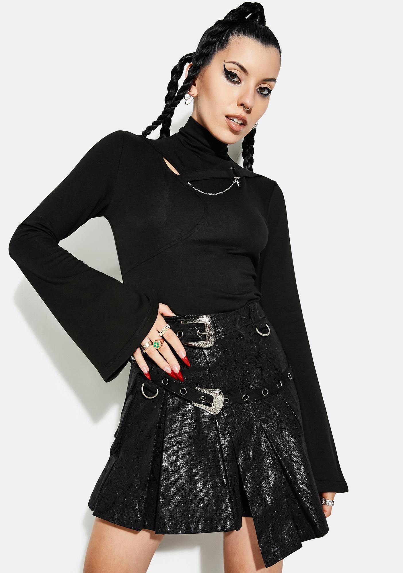 Punk Rave Punk Strap Chain Trumpet Sleeve Shirt