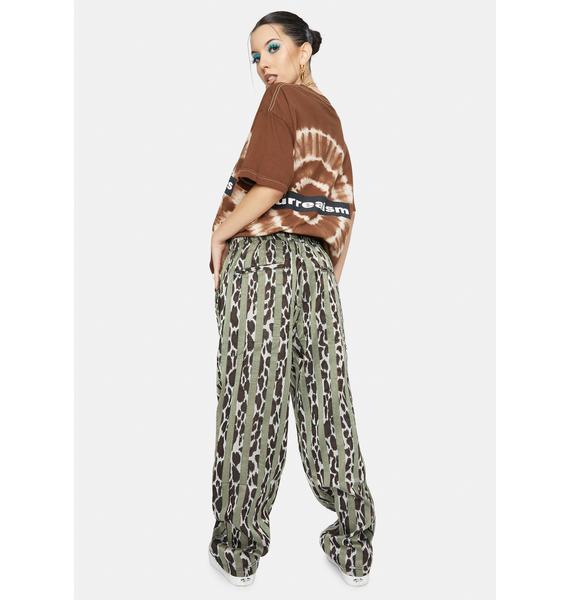 Pleasures Bloom Leopard Striped Beach Pants