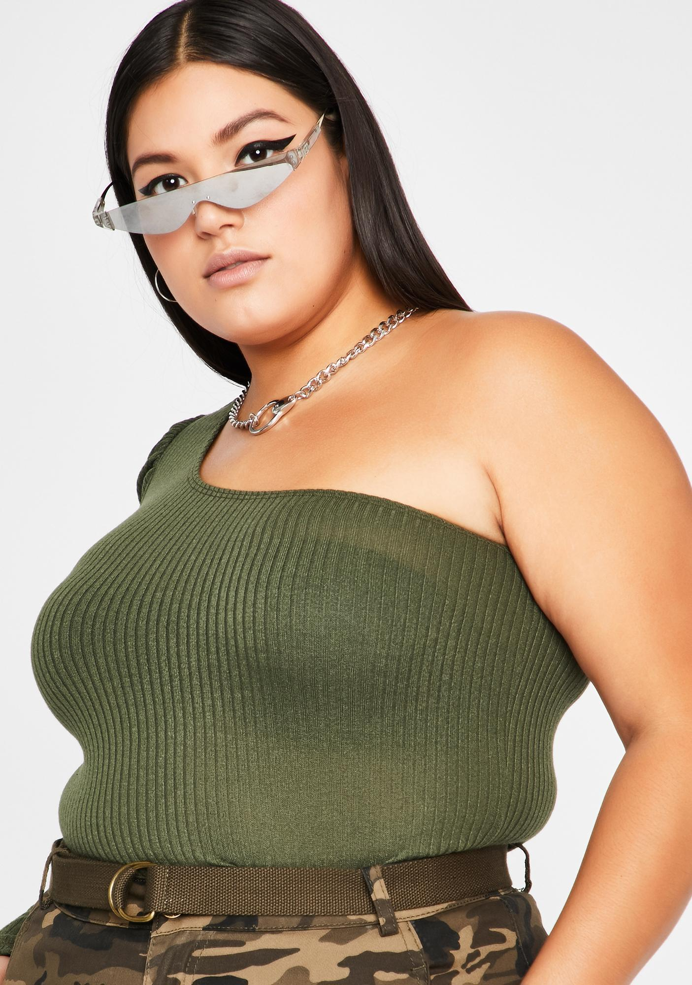 Olive Imma Switch Sider Asymmetrical Top