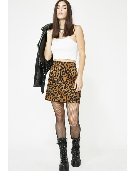 Bad Lil Kitty Leopard Skirt