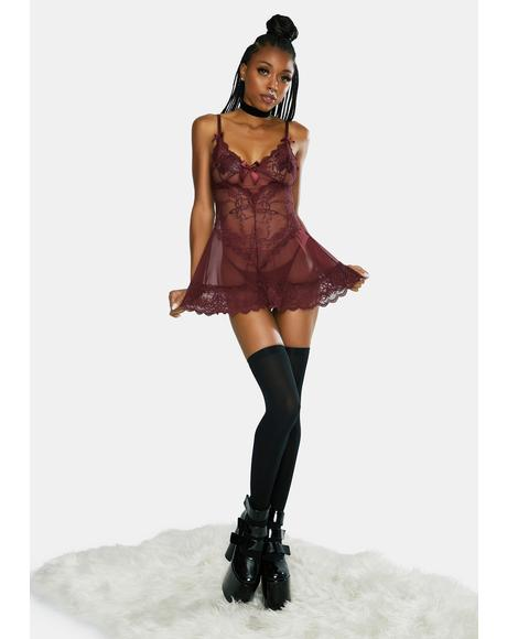 Valentine Soft Cup Babydoll Chemise And Thong Set