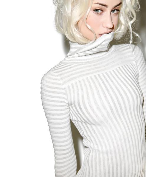For Love & Lemons Switch Stripe Grey Turtleneck Dress