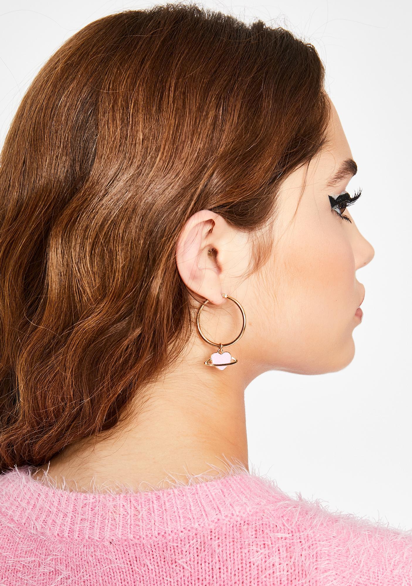 Planet Of Love Hoop Earrings