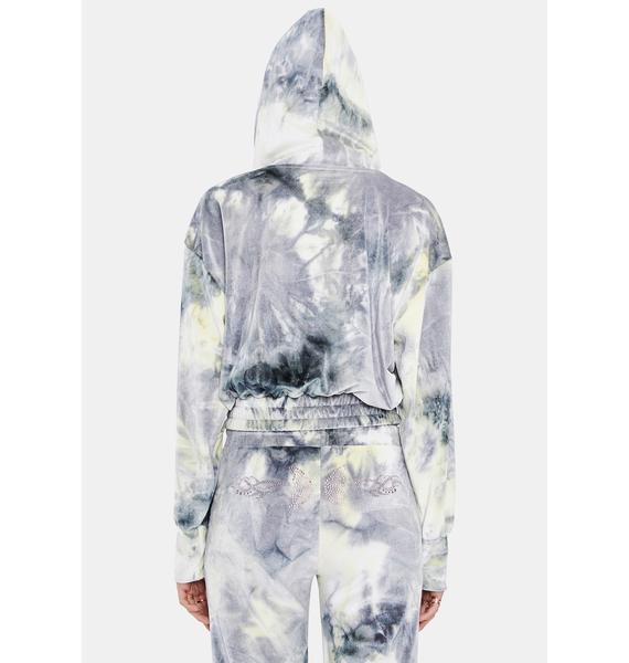 BADEE Tie Dye Velour Track Jacket
