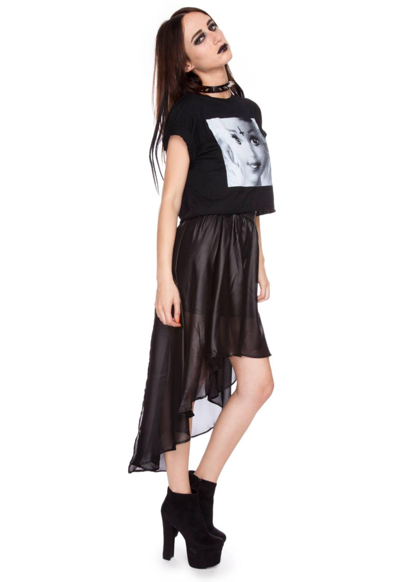 Widow Chinsed Chiffon Tail Skirt