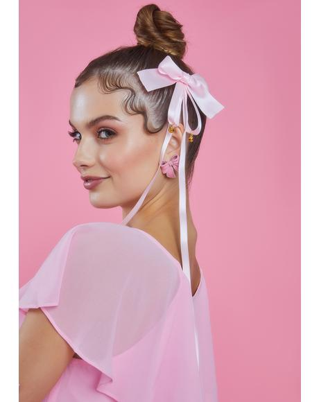Kiss Take A Bow 2 Piece Satin Hair Clip Set