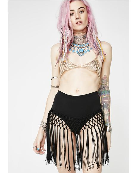 Midnight Far Out Fringe Freak Skirt