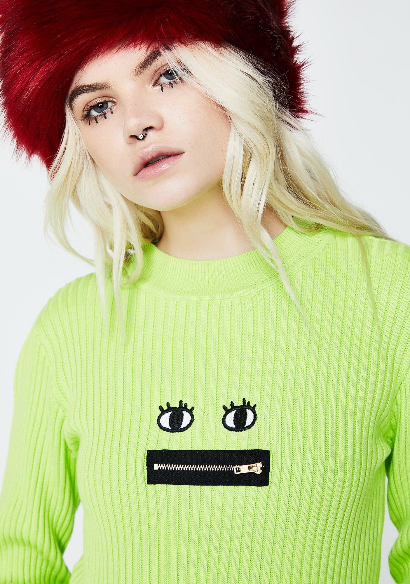 Lazy Oaf Neon Zippy Mouth Long Sleeve Knit