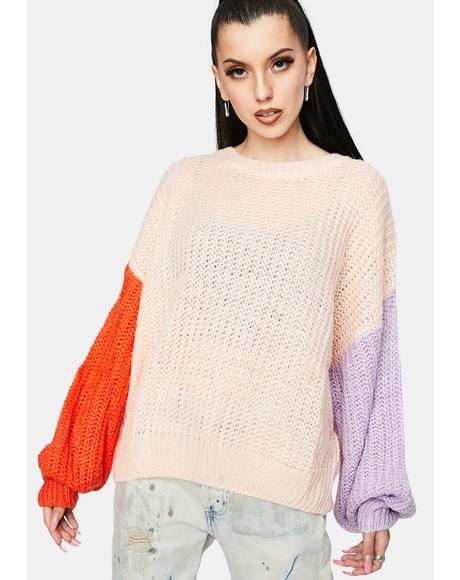 Peach Coral Colorblock Sweater