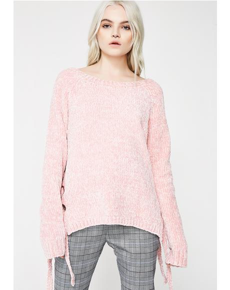 Princess Blacked Out Lace-up Sweater