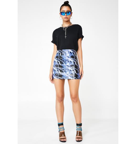 ZEMETA Lightning Graphic Mini Skirt