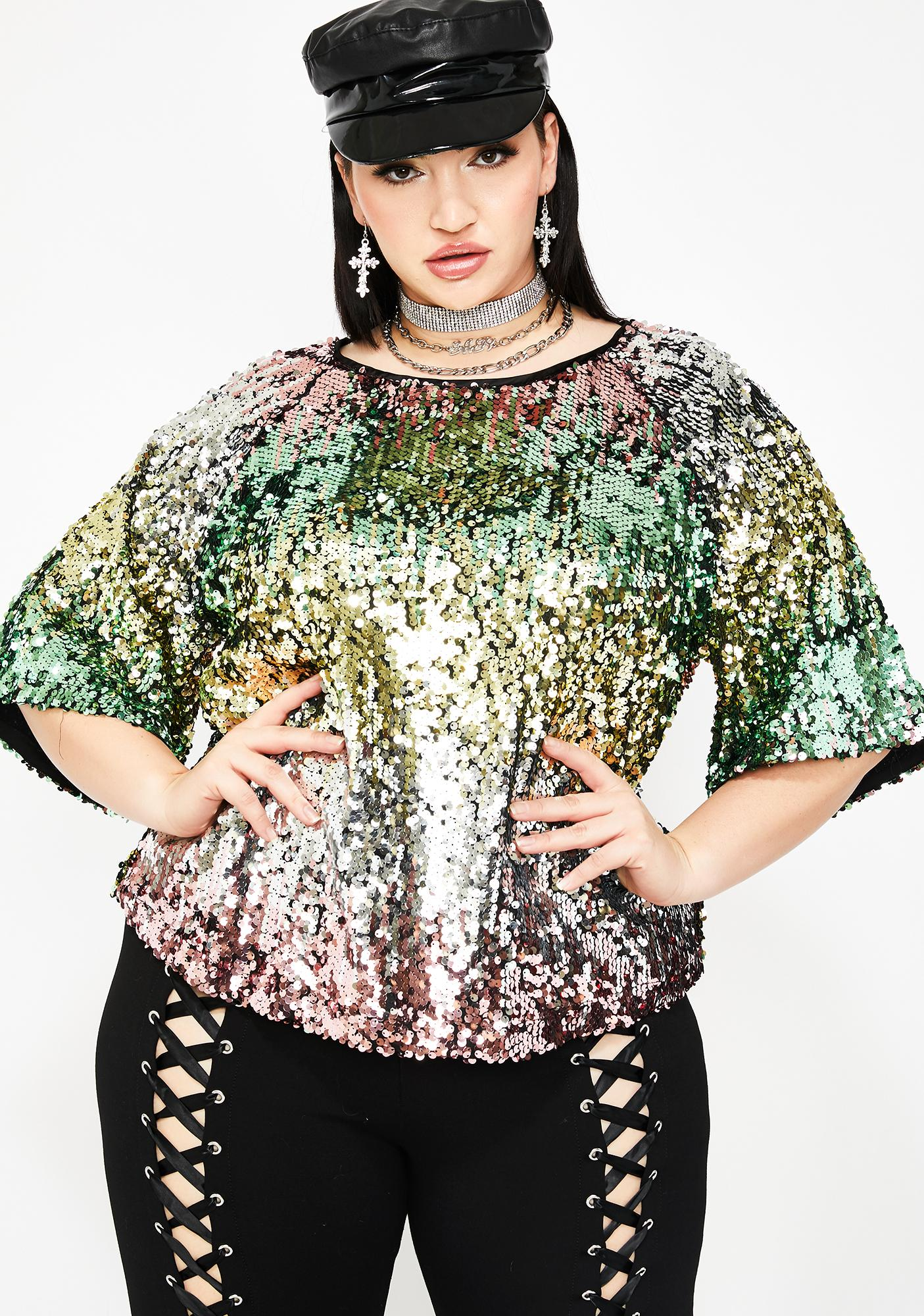 65b134e34 Plus Size Rainbow Sequin Crop Top | Dolls Kill