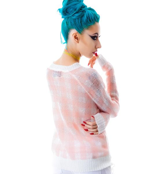 Wildfox Couture All Over Gingham Mini 70's Sweater