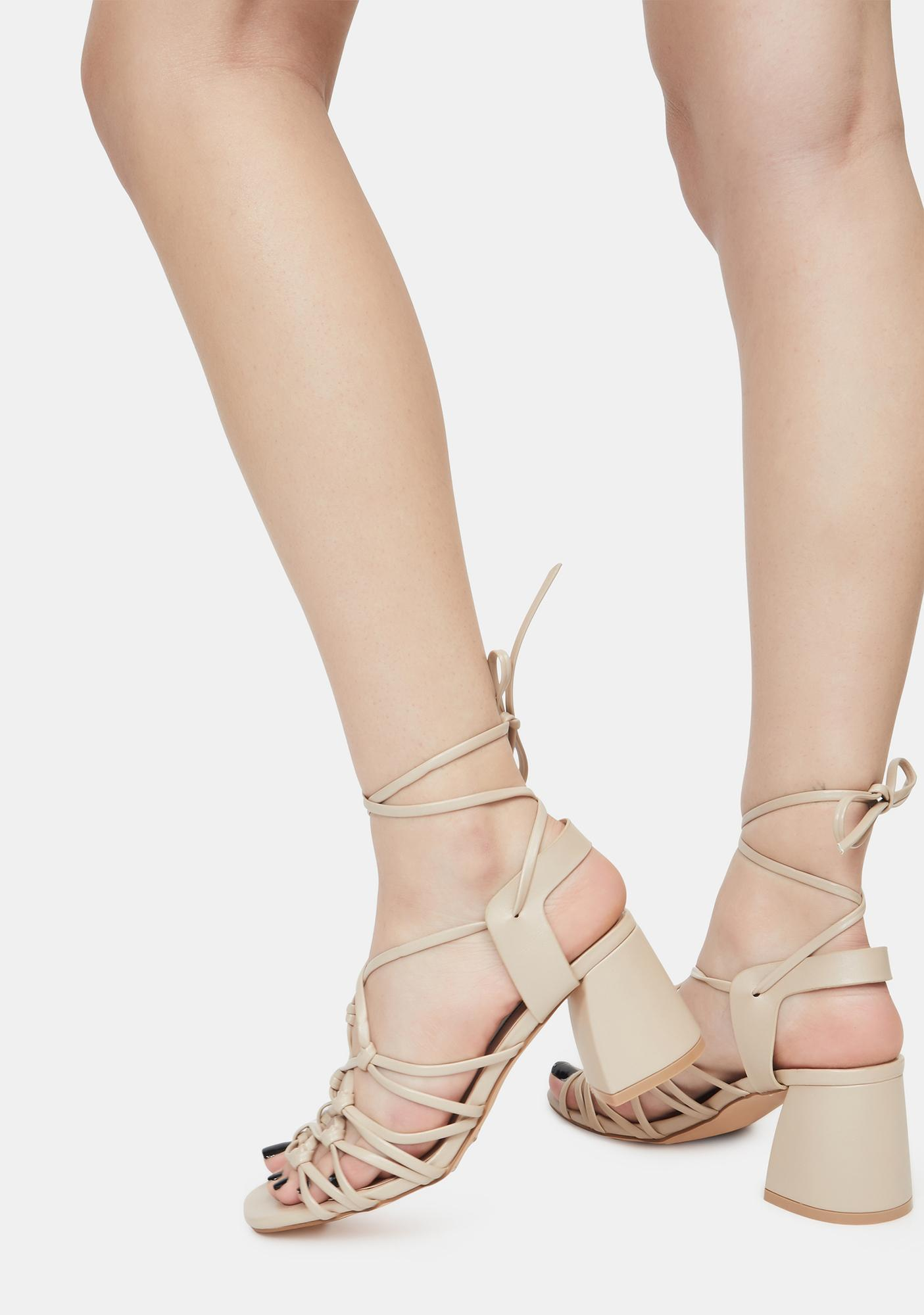 Beige Got It Like That Strappy Sandals