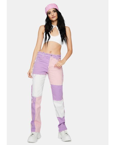 Pastel Lilac Patchwork Denim Boyfriend Jeans