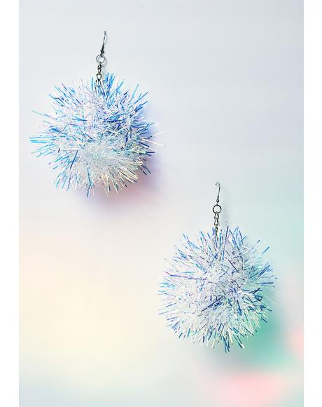 Hologram Iridescent Pom Pom Earrings