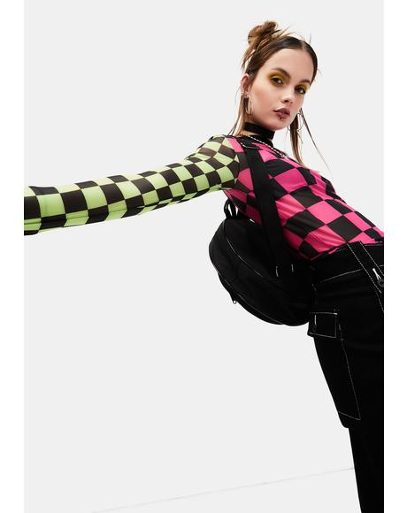 Reality In Motion Checkered Mesh Top