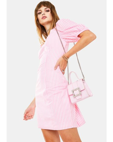 Neon Pink Puff Sleeve Mini Dress