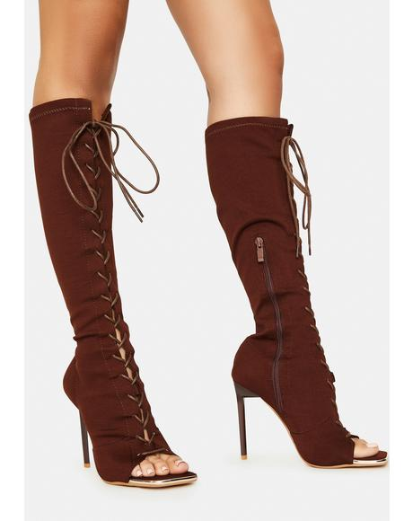 Chocolate Forever Bond Lace Up Boots