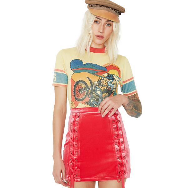 Attitude Problem Velour Lace-Up Skirt