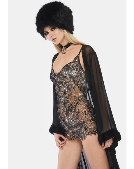 Undercover Lair Lace Rhinestone Backless Chemise
