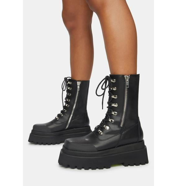 DARKER WAVS Synth Unisex Leather Square Toe Combat Boots