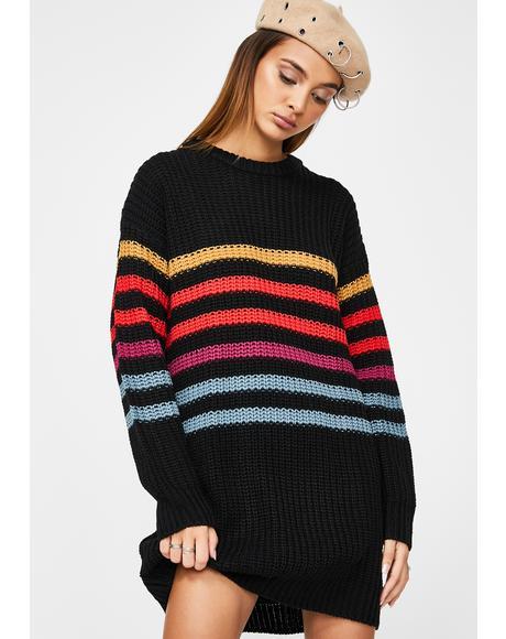 Black Move On Up Sweater Dress